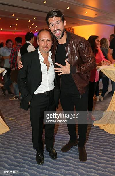 Erdogan Atalay and his former collegue Tom Beck 'Alarm fuer Cobra 11' during the surprise party for Erdogan Atalay's 50th birthday at Hotel Arkona on...
