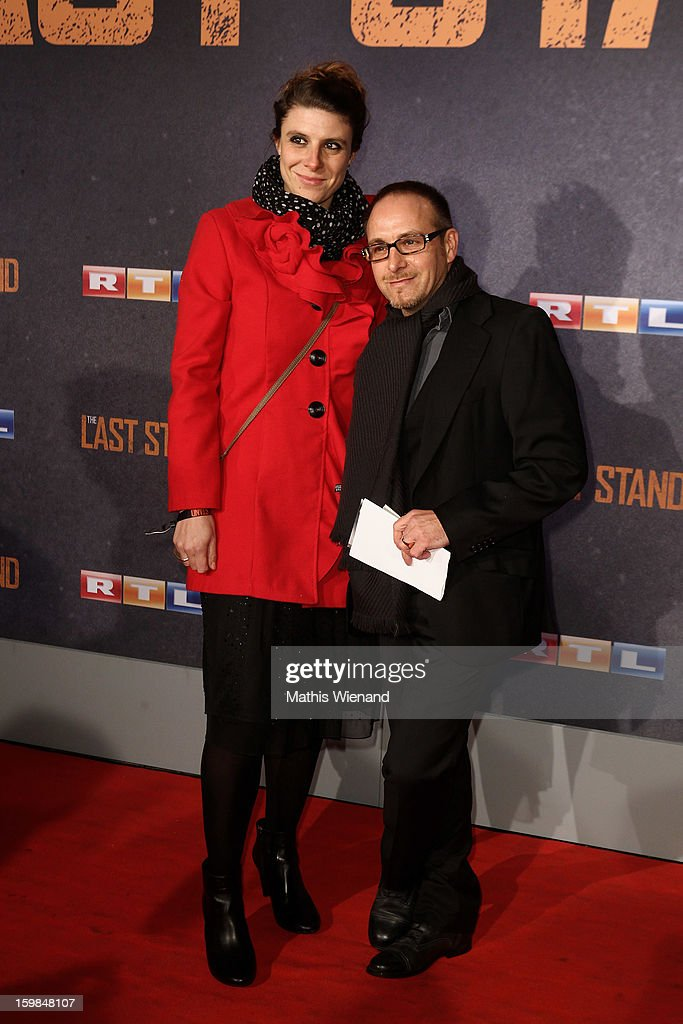 Erdogan Atalay and the manager of his wife Simone Atlai attend the 'The Last Stand' Cologne Premiere at Astor Film Lounge on January 21, 2013 in Cologne, Germany.
