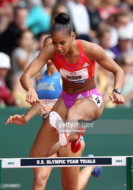 T'erea Brown competes in the Women's 400 Meter Hurdles SemiFinal on day eight of the US Olympic Track Field Team Trials at the Hayward Field on June...
