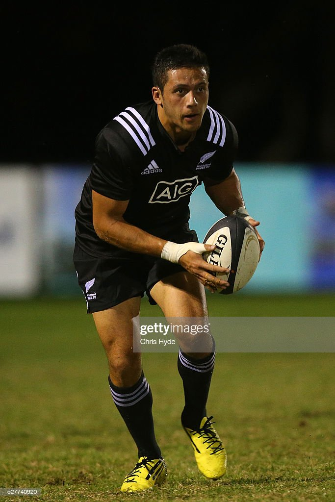 Ereatara Enari of New Zealand runs the ball during the Under 20s Oceania Rugby match between Australia and New Zealand at Bond University on May 3, 2016 in Gold Coast, Australia.