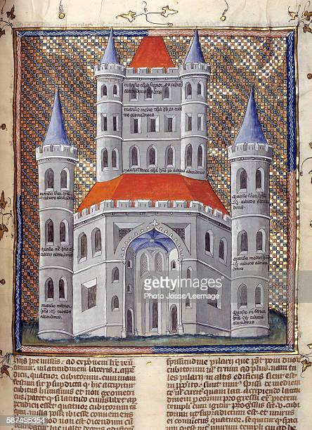 Erection of the facade of the Temple of Solomon in Jerusalem Miniature from 'The commentary on the Bible' by Nicolas de Lyra 14th century Public...