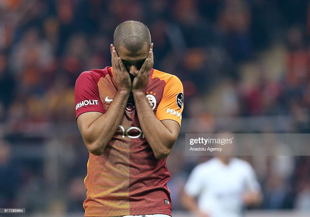 Eren Derdiyok (C) of Galatasaray gestures during Turkish Spor Toto Super Lig match between Galatasaray and Trabzonspor at Turk Telekom Arena Stadium in Istanbul, Turkey on October 22, 2016.