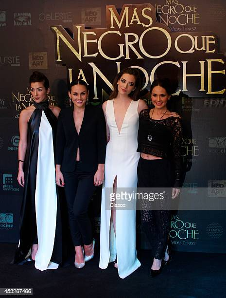 Erendira Ibarra Zuria Vega Ona Casamiquela and Adriana Louvier pose for pictures during the red carpet of the movie 'Mas Negro que la Noche' at Plaza...