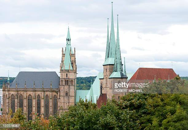 Erfurt´s Cathedral of St Mary and the Church of St Severus are pictured ahead of the Pope's visit on August 27 2011 Pope Benedict XVI will visit...