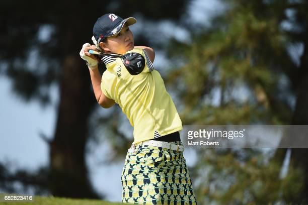 Eri Fukuyama of Japan hits her tee shot on the 3rd hole during the final round of the HokennoMadoguchi Ladies at the Fukuoka Country Club Wajiro...