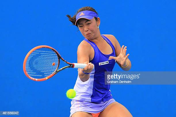 Eri Hozumi of Japan plays a forehand in her qualifying match against SuWei Hsieh of Taipei for the 2015 Australian Open at Melbourne Park on January...