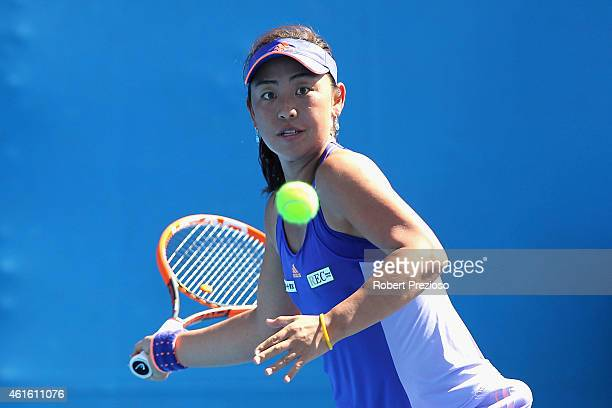 Eri Hozumi of Japan plays a forehand in her qualifying match against Renata Voracova of Czech Republic for 2015 Australian Open at Melbourne Park on...