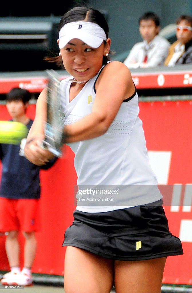 Eri Hozumi plays a backhand during the Women's Singles final match against Miharu Imanishi on day seven of the 88th All Japan Tennis Championships at Ariake Colosseum on November 9, 2013 in Tokyo, Japan.