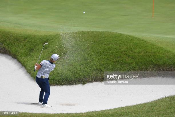 Eri Okayama of Japan hits from a bunker on the 1st hole during the final round of the Resorttrust Ladies at the Oakmont Golf Club on May 28 2017 in...