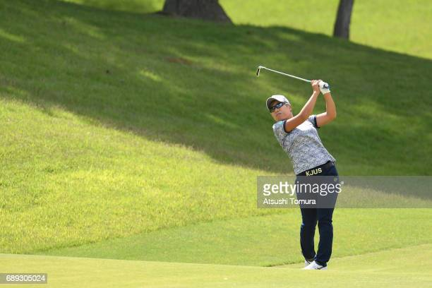 Eri Okayama of Japan hits her second shot on the 1st hole during the final round of the Resorttrust Ladies at the Oakmont Golf Club on May 28 2017 in...