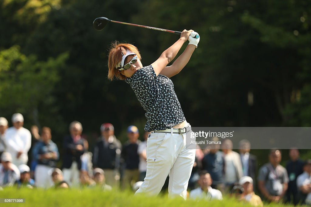 Eri Okayama of Japan hits her tee shot on the 1st hole during the final round of the CyberAgent Ladies Golf Tournament at the Grand Fields Country Club on May 1, 2016 in Mishima, Japan.