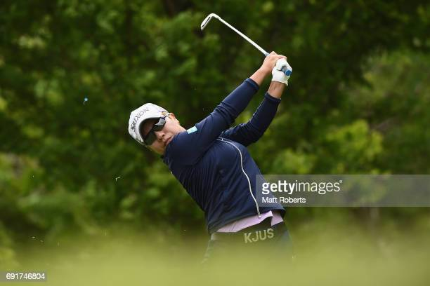 Eri Okayama of Japan hits her tee shot on the 3rd hole during the first round of the Yonex Ladies Golf Tournament 2016 at the Yonex Country Club on...