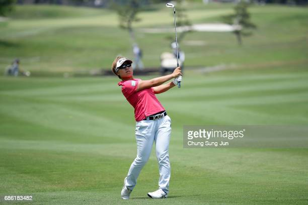 Eri Okayama of Japan plays a shot on the 9th hole during the final round of the Chukyo Television Bridgestone Ladies Open at the Chukyo Golf Club...