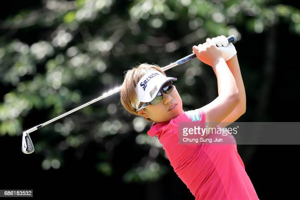 Eri Okayama of Japan plays a tee shot on the 5th hole during the final round of the Chukyo Television Bridgestone Ladies Open at the Chukyo Golf Club...