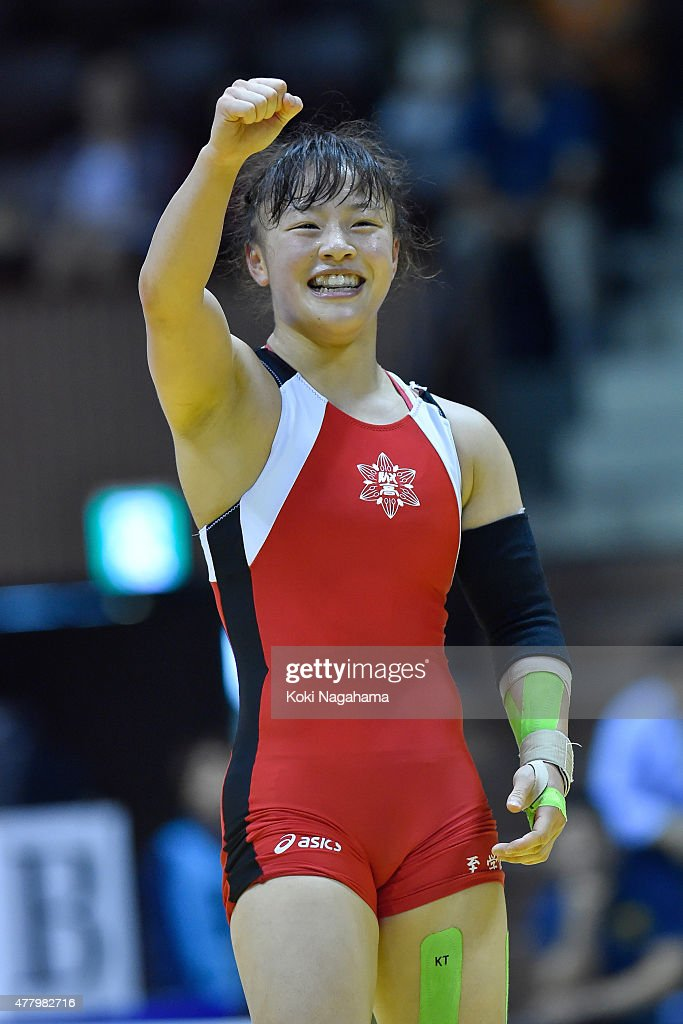 <a gi-track='captionPersonalityLinkClicked' href=/galleries/search?phrase=Eri+Tosaka&family=editorial&specificpeople=9149207 ng-click='$event.stopPropagation()'>Eri Tosaka</a> (red) rises her arm in winning the Women's 48kg free style final match against Yuki Irie (blue) during All Japan Wrestling Championships at Yoyogi National Gymnasium on June 21, 2015 in Tokyo, Japan.