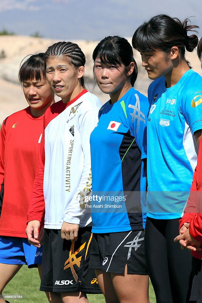 <a gi-track='captionPersonalityLinkClicked' href=/galleries/search?phrase=Eri+Tosaka&family=editorial&specificpeople=9149207 ng-click='$event.stopPropagation()'>Eri Tosaka</a>, <a gi-track='captionPersonalityLinkClicked' href=/galleries/search?phrase=Saori+Yoshida&family=editorial&specificpeople=2374710 ng-click='$event.stopPropagation()'>Saori Yoshida</a>, Anri Kimura and <a gi-track='captionPersonalityLinkClicked' href=/galleries/search?phrase=Kaori+Icho&family=editorial&specificpeople=2374687 ng-click='$event.stopPropagation()'>Kaori Icho</a> of Japan are seen during a Japan Women's Wrestling national team training session ahead of the World Wrestling Championships on September 6, 2015 in Las Vegas, Nevada.