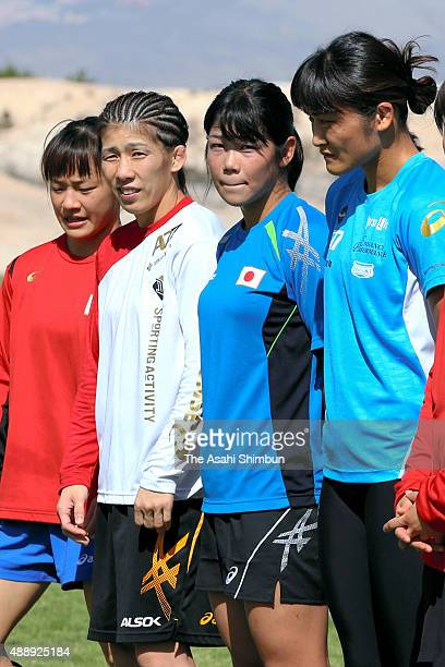Eri Tosaka Saori Yoshida Anri Kimura and Kaori Icho of Japan are seen during a Japan Women's Wrestling national team training session ahead of the...