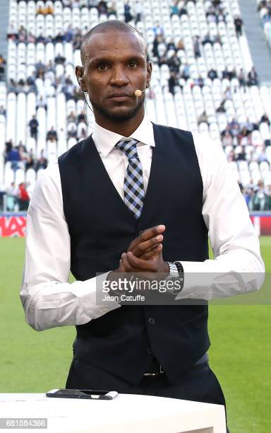 Eric Abidal comments for beIN Sports the UEFA Champions League semi final second leg match between Juventus Turin and AS Monaco at Juventus Stadium...
