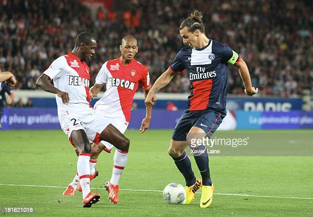 Eric Abidal Henrique Tavares of AS Monaco FC and Zlatan Ibrahimovic of Paris SaintGermain in action during the French League 1 between Paris...