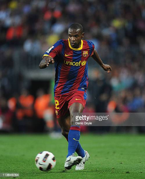 Eric Abidal of Barcelona in action during the La Liga match between Barcelona and Espanyol at Nou Camp on May 8 2011 in Barcelona Spain