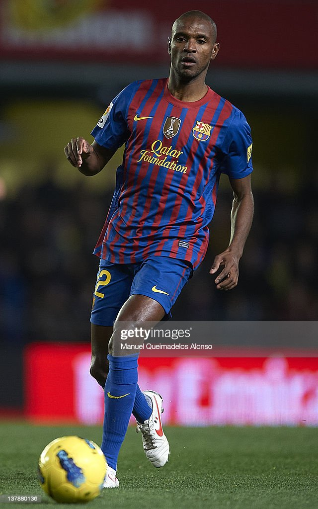Eric Abidal of Barcelona in action during the la Liga match between Villarreal and Barcelona at El Madrigal on January 28, 2012 in Villarreal, Spain.
