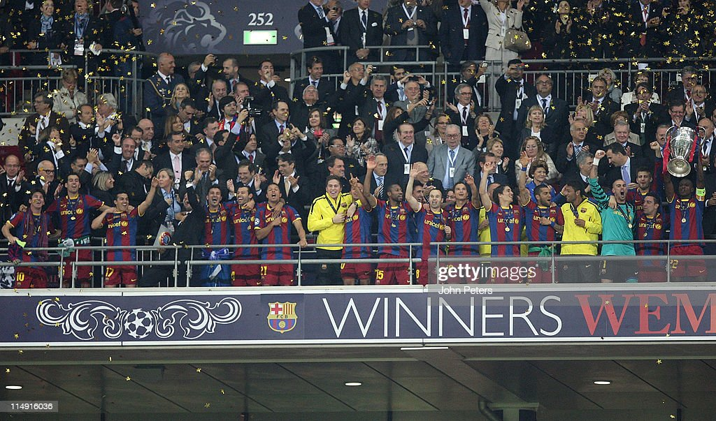 <a gi-track='captionPersonalityLinkClicked' href=/galleries/search?phrase=Eric+Abidal&family=editorial&specificpeople=469702 ng-click='$event.stopPropagation()'>Eric Abidal</a> of Barcelona lifts the European Cup after the UEFA Champions League Final match between Barcelona and Manchester United at Wembley Stadium on May 28, 2011 in London, England.