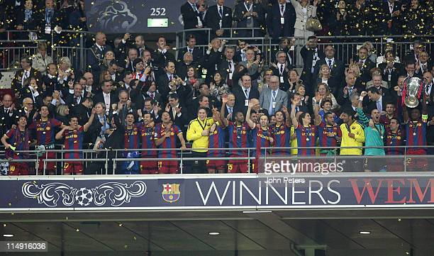 Eric Abidal of Barcelona lifts the European Cup after the UEFA Champions League Final match between Barcelona and Manchester United at Wembley...