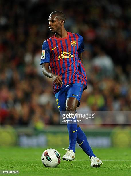 Eric Abidal of FC Barcelona controls the ball during the la Liga match between FC Barcelona and Real Racing Club at the Camp Nou stadium on October...