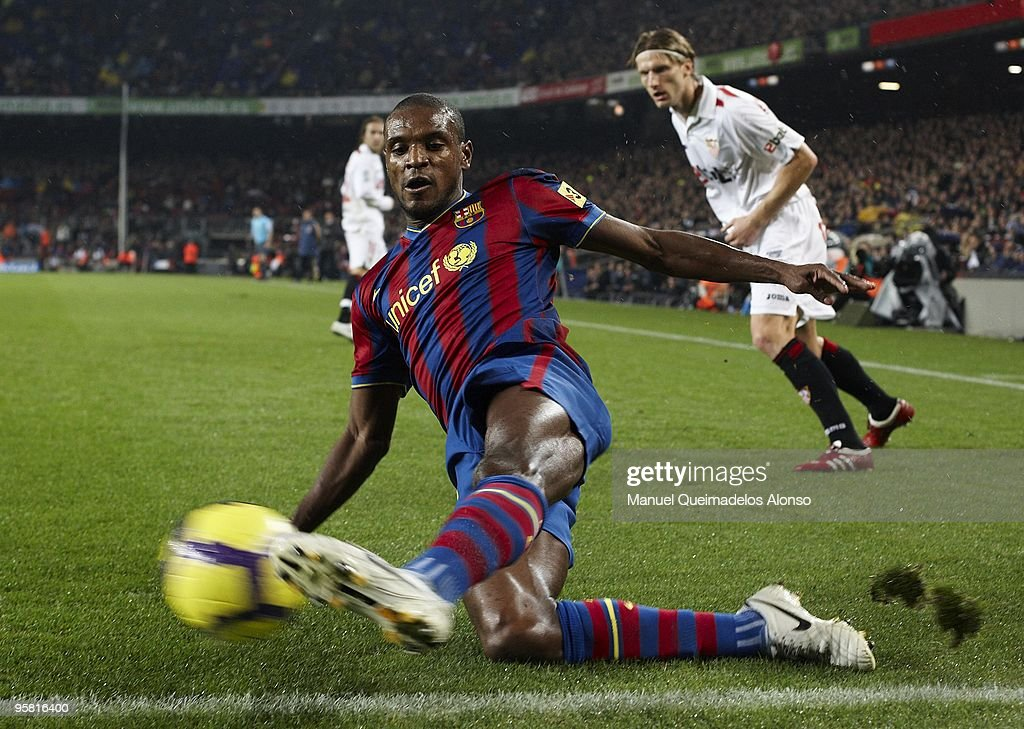 <a gi-track='captionPersonalityLinkClicked' href=/galleries/search?phrase=Eric+Abidal&family=editorial&specificpeople=469702 ng-click='$event.stopPropagation()'>Eric Abidal</a> of FC Barcelona in action during the La Liga match between Barcelona and Sevilla at the Camp Nou stadium on January 16, 2010 in Barcelona, Spain.