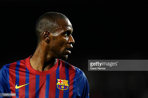 Eric Abidal of FC Barcelona looks on during the La Liga soccer match between FC Barcelona and CA Osasuna at Camp Nou Stadium on September 17 2011 in...
