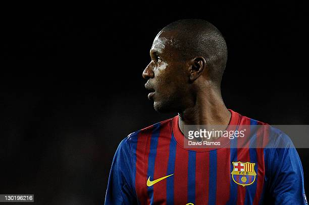 Eric Abidal of FC Barcelona looks on during the UEFA Champions League Group H match between FC Barcelona and FC Viktoria Plzen at Camp Nou on October...