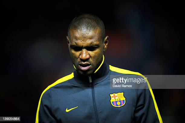 Eric Abidal of FC Barcelona looks on during the warm up prior to the La Liga match between CA Osasuna and FC Barcelona at the Reyno de Navarra...