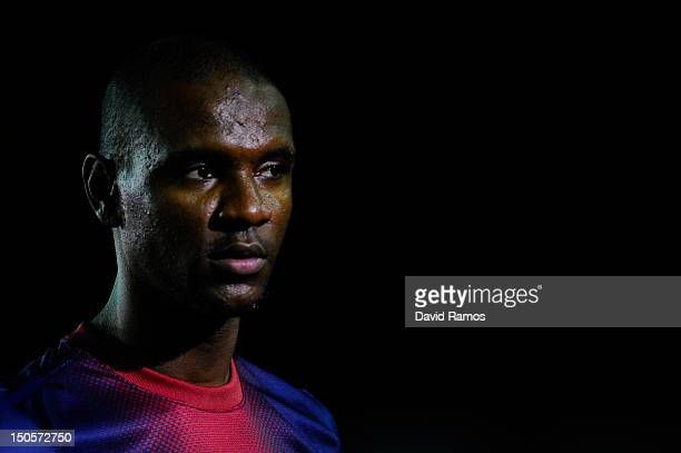 Eric Abidal of FC Barcelona looks on prior to the Joan Gamper Trophy friendly match between FC Barcelona and Sampdoria at Camp Nou on August 20 2012...