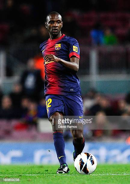 Eric Abidal of FC Barcelona runs with the ball during the La Liga match between FC Barcelona and RCD Mallorca at Camp Nou on April 6 2013 in...
