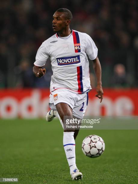Eric Abidal of Lyon in action during the UEFA Champions League round of 16 first leg match between AS Roma and Olympique Lyonnais at the Stadio...