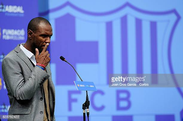 Eric Abidal speaks during the Eric Abidal and FCBarcelona foundation launch on April 22 2016 in Barcelona Spain