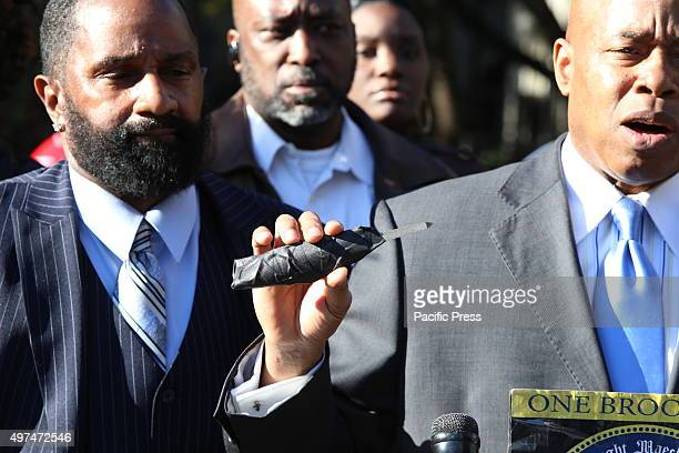 Eric Adams holds impromptu knife confiscated from inmate at Riker's Island Brooklyn borough president Eric Adams joined members of Concerned...