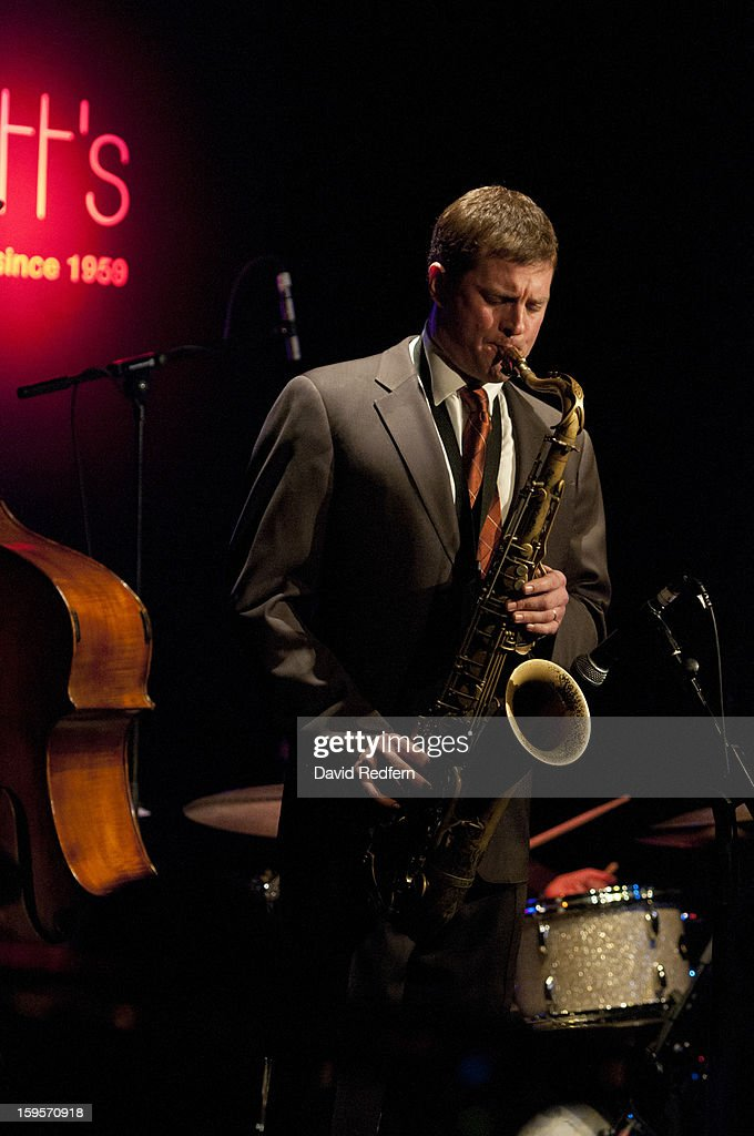 Eric Alexander of Eric Alexander And Vincent Herring Quintet Featuring Harold Mabern In the Spirit of Coltrane perform at Ronnie Scott's Jazz Club on January 15, 2013 in London, United Kingdom.
