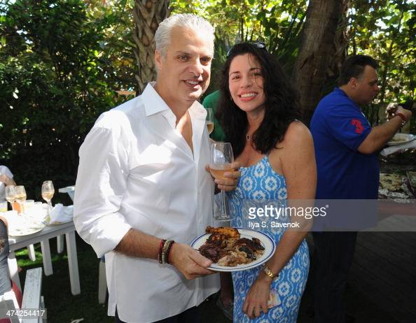 Eric and Sandra Ripert attend Geoffrey and Margaret Zakarian's Rosé Lunch at the Soho Beach House at Soho Beach House on February 22 2014 in Miami...