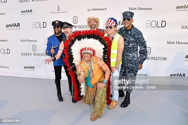 Eric Anzalone Ray Simpson Jim Newman Felipe Rose Bill Whitefield and Alex Briley of the band Village People attend the amfAR's 23rd Cinema Against...