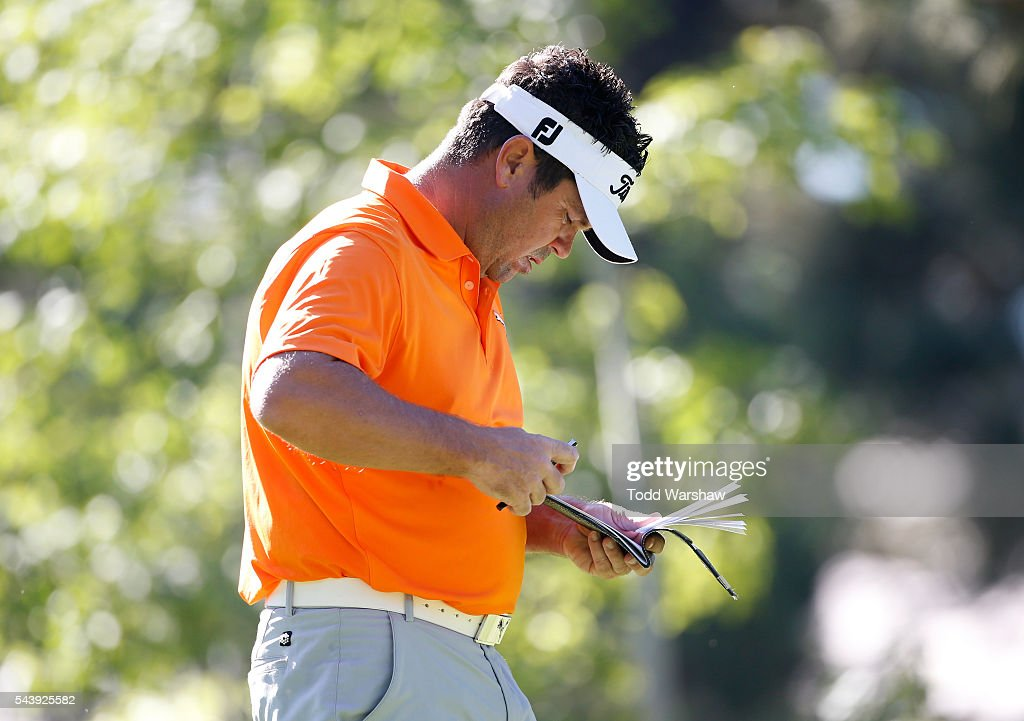 <a gi-track='captionPersonalityLinkClicked' href=/galleries/search?phrase=Eric+Axley&family=editorial&specificpeople=3951703 ng-click='$event.stopPropagation()'>Eric Axley</a> prepares to tee off on the third tee during the first round of the Barracuda Championship at the Montreux Golf and Country Club on June 30, 2016 in Reno, Nevada.