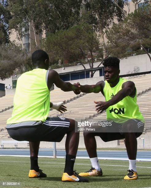 Eric Bailly and Axel Tuanzebe of Manchester United in action during a first team training session as part of their preseason tour of the USA at UCLA...