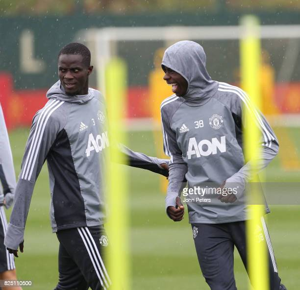 Eric Bailly and Axel Tuanzebe of Manchester United in action during a first team training session at Aon Training Complex on August 1 2017 in...