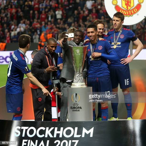 Eric Bailly and Chris Smalling of Manchester United celebrate after the UEFA Europa League Final match between Manchester United and Ajax at Friends...