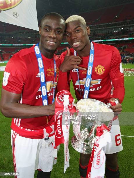 Eric Bailly and Paul Pogba of Manchester United celebrate after the EFL Cup Final match between Manchester United and Southampton at Wembley Stadium...