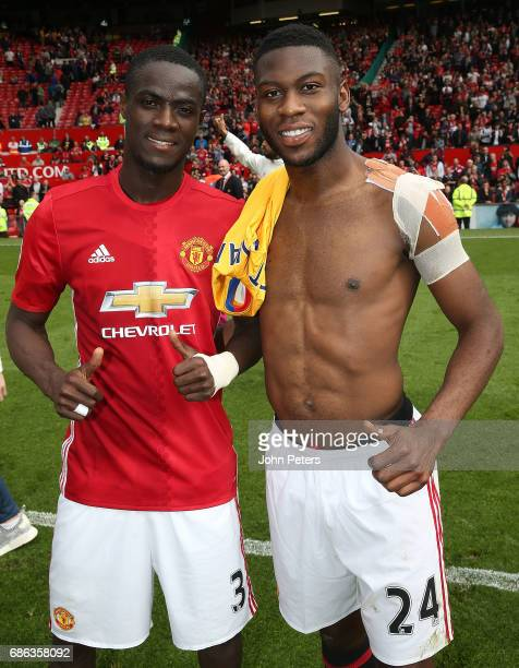 Eric Bailly and Timothy FosuMensah of Manchester United pose after the Premier League match between Manchester United and Crystal Palace at Old...