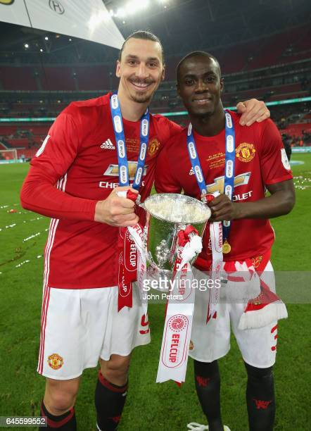 Eric Bailly and Zlatan Ibrahimovic of Manchester United celebrate after the EFL Cup Final match between Manchester United and Southampton at Wembley...