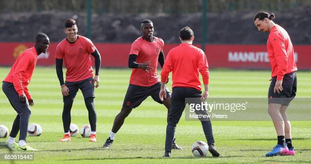 Eric Bailly Marcos Rojo Paul Pogba Ander Herrera and Zlatan Ibrahimovic of Manchester United in action during a first team training session at Aon...