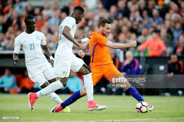 Eric Bailly of Ivory Coast Maxwell Cornet of Ivory Coast Vincent Janssen of Hollandduring the friendly match between The Netherlands and Ivory Coast...