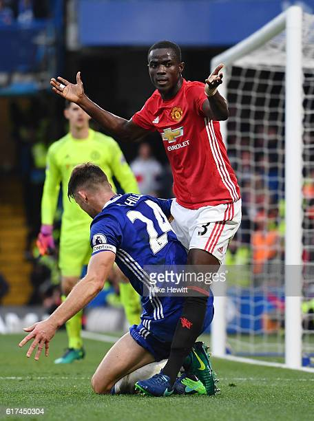 Eric Bailly of Manchester United and Gary Cahill of Chelsea in action during the Premier League match between Chelsea and Manchester United at...